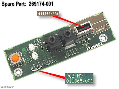 USB and audio jacks PC board -